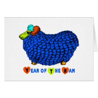 Blue Big Ram Chinese Astrology Greeting Card
