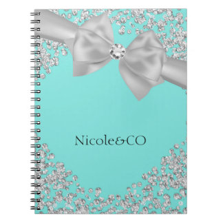 Blue Big White Bow Diamonds Glam Custom Notebooks