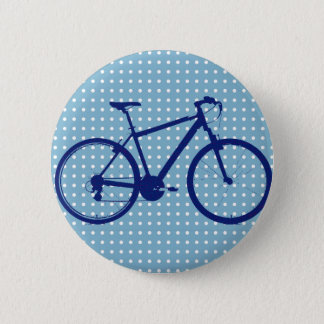 blue bike and polka dots 6 cm round badge