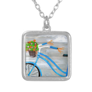 Blue Bike Zazzle Silver Plated Necklace