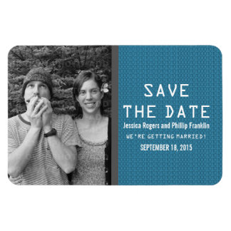 Blue Binary Code Photo Save the Date Magnet