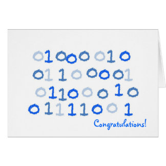 Blue binary new baby card