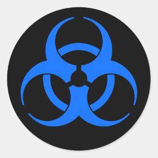 Blue Biohazard Symbol Sticker