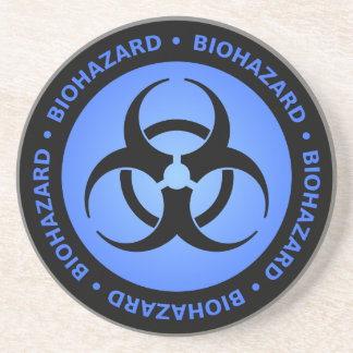 Blue Biohazard Warning Coaster