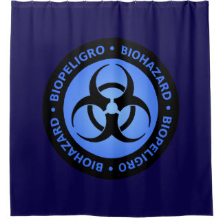 Blue Biohazard Warning Sign Shower Curtain