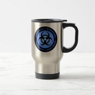 Blue Biohazard  Warning Travel Mug