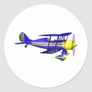 Blue Biplane Classic Round Sticker