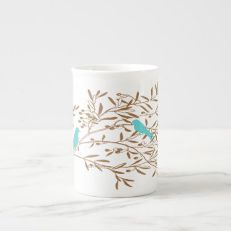 Blue Bird and Olive Branch Bone China Mug