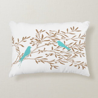 Blue Bird and Olive Branch Pillow