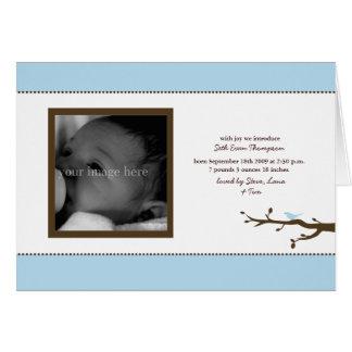 Blue Bird Baby Announcement Card
