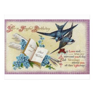 Blue Bird Birthday Postcard