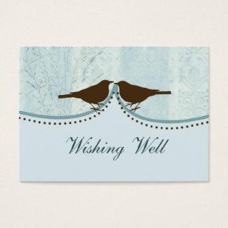 blue bird cage, love birds wishing well cards