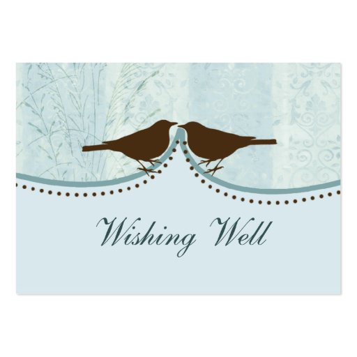 blue bird cage, love birds wishing well cards business card template