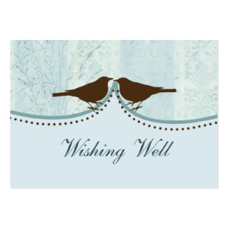 blue bird cage, love birds wishing well cards pack of chubby business cards
