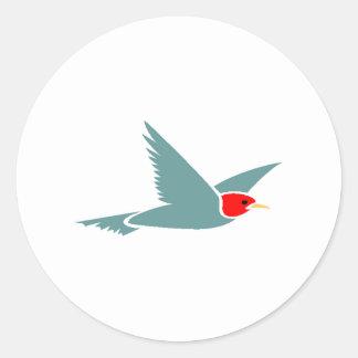 Blue Bird Flying Round Sticker