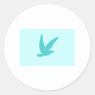 Blue Bird Flying Round Stickers