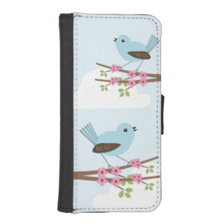 Blue Bird in Blossom Tree iPhone SE/5/5s Wallet Case