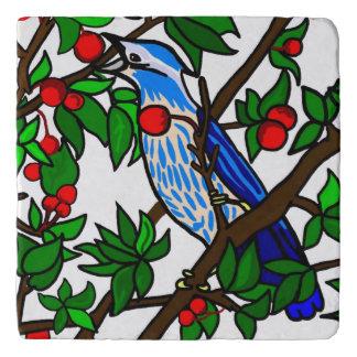 Blue Bird In Cherry Tree Trivet