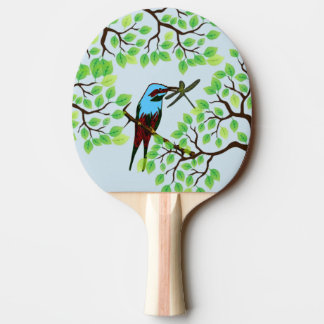 Blue Bird in Trees Blue Ping Pong Paddle