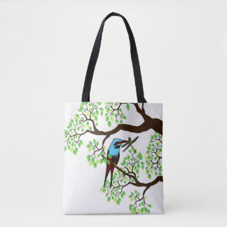 Blue Bird in Trees Tote Bag