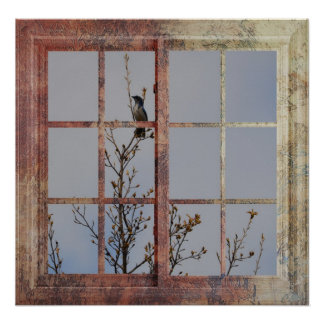 Blue Bird in Window Poster
