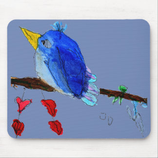 Blue Bird Mouse Pad - Blue Background