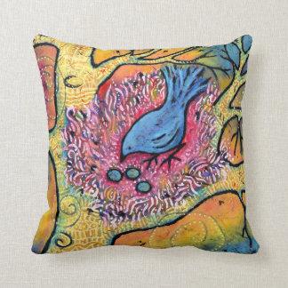 Blue Bird Nest with Eggs Cushion