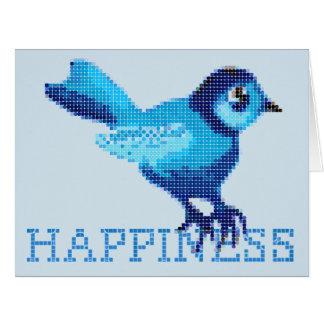 Blue bird of happiness crossstitch dots card