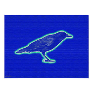 (Blue)Bird(of Happiness)Crow Art Poster(Large)