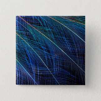 Blue Bird Of Paradise Feather Abstract 15 Cm Square Badge