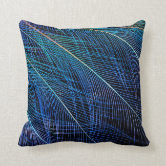 Blue Bird Of Paradise Feather Abstract Cushion