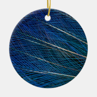 Blue Bird of Paradise feathers Ceramic Ornament