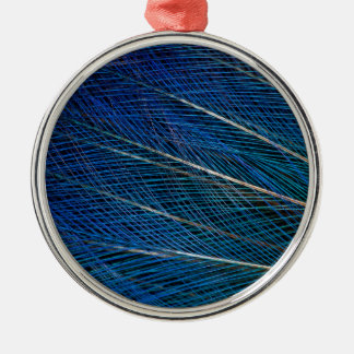 Blue Bird of Paradise feathers Metal Ornament