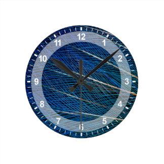 Blue Bird of Paradise feathers Round Clock