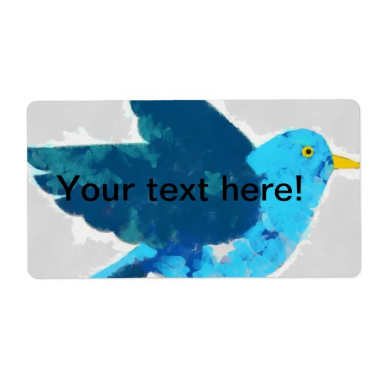 Blue bird painting shipping label