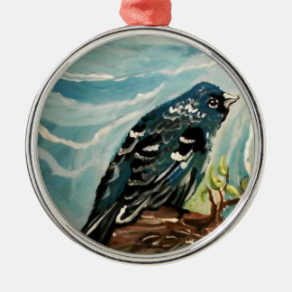blue bird Silver-Colored round decoration