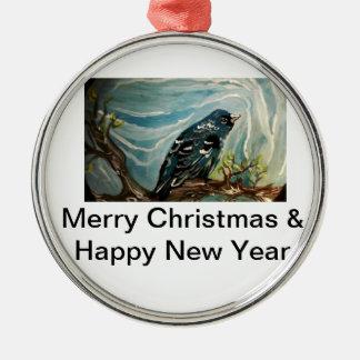 Blue Bird Silver-Colored Round Decoration