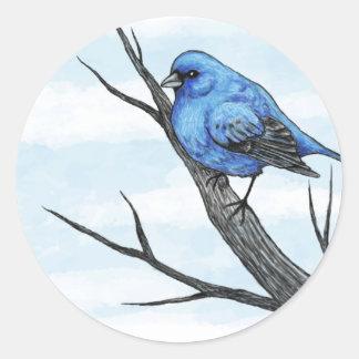 Blue Bird Sketch Round Sticker