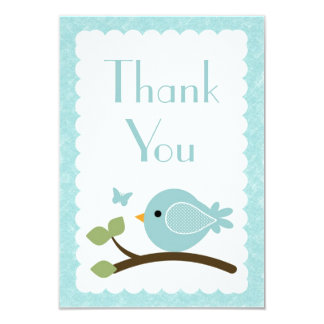 Blue Bird Thank you note cards baby shower 9 Cm X 13 Cm Invitation Card