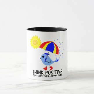 Blue Bird - Think Positive Message Mug