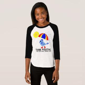 Blue Bird - Think Positive Message T-Shirt