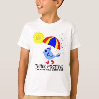 Blue Bird - Think Positive Message T-Shirt