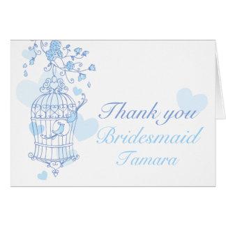 Blue bird wedding Bridesmaid thank you card