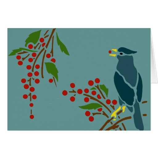 Blue Bird with Berries Greeting Cards