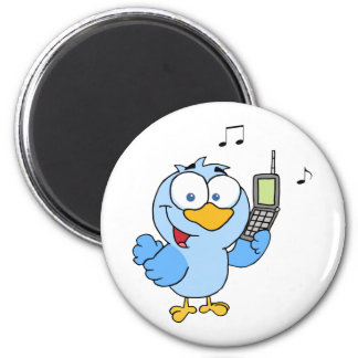 Blue Bird With Cell Phone And Speech Bubble 6 Cm Round Magnet