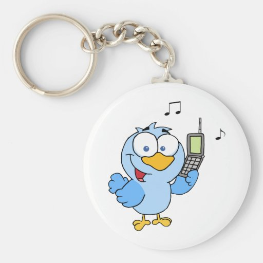 Blue Bird With Cell Phone And Speech Bubble Keychains