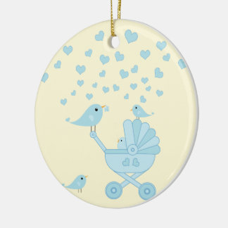 Blue Bird With Stroller - Baby's First Christmas Ceramic Ornament