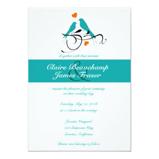 Blue Birds and Hearts Wedding Card