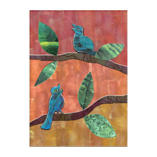 Blue Birds Chirping Collage Acrylic Wall Art