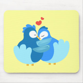 blue birds in love mouse pads